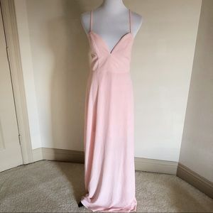NWOT NBD x Naven twins baby pink long maxi gown
